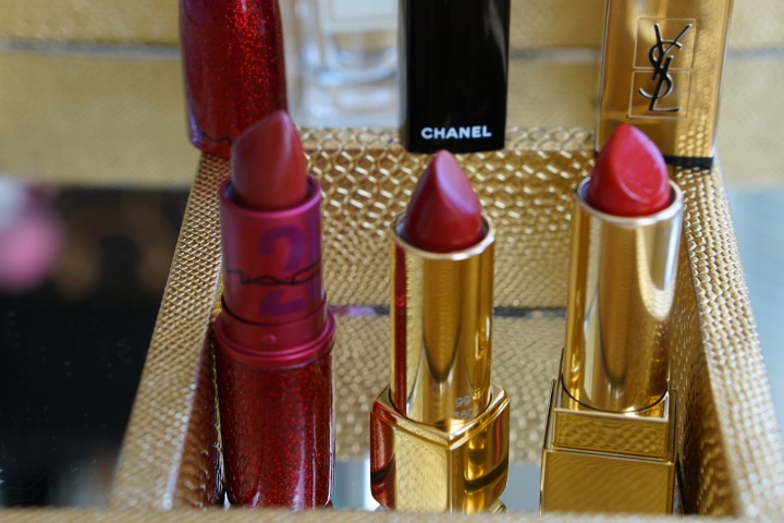 Three red lipsticks (Mac, Chanel, YSL)